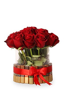 خرید باکس گل رز شیرین ترین عشق